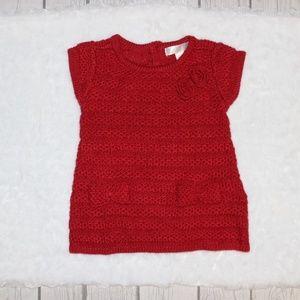 Cherokee Girl's Knit Burgundy Dress 3-6 Months